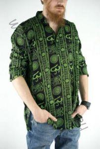 Разные цвета! Чёрная мужская рубашка с рисунком символ Ом (Москва)