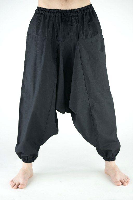 ЧЁРНЫЕ Мужские штаны алладины из хлопка (Москва)