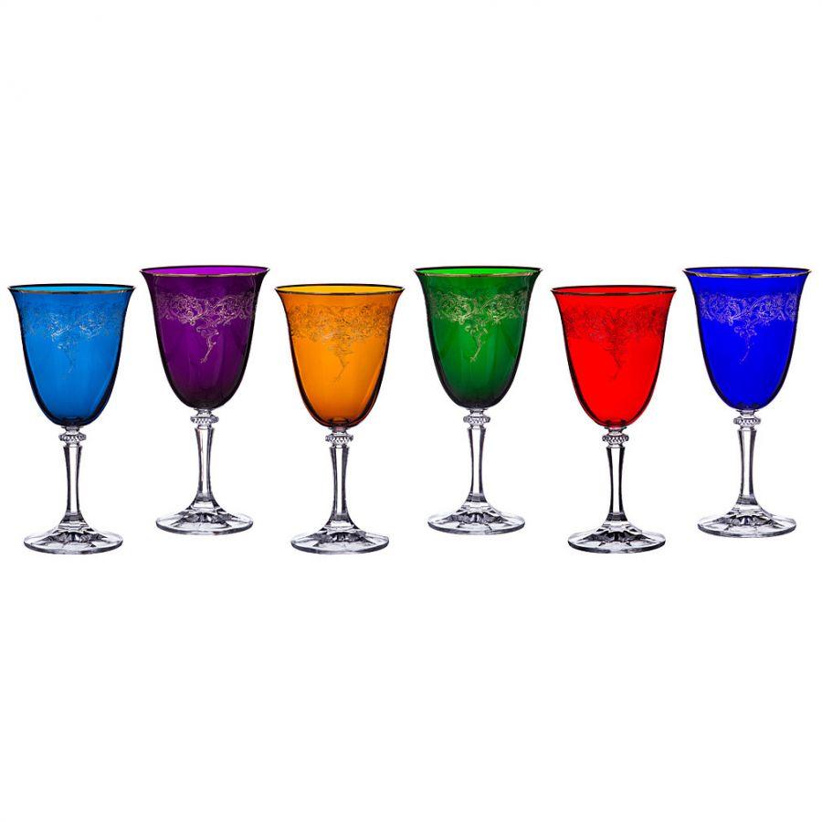 """Набор бокалов для вина """"Клеопатра микс"""" 360 мл, h=20 см, 6 шт."""