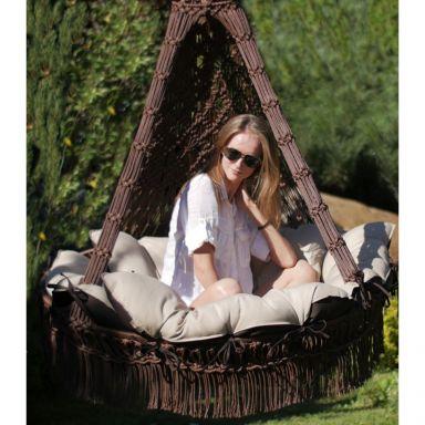 Подвесное кресло КАРТАХЕНА с подушками (коричневый). Без каркаса.