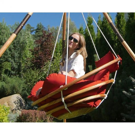 Подвесное деревянное кресло-качели с подушками - комплект МАЙЯ SET