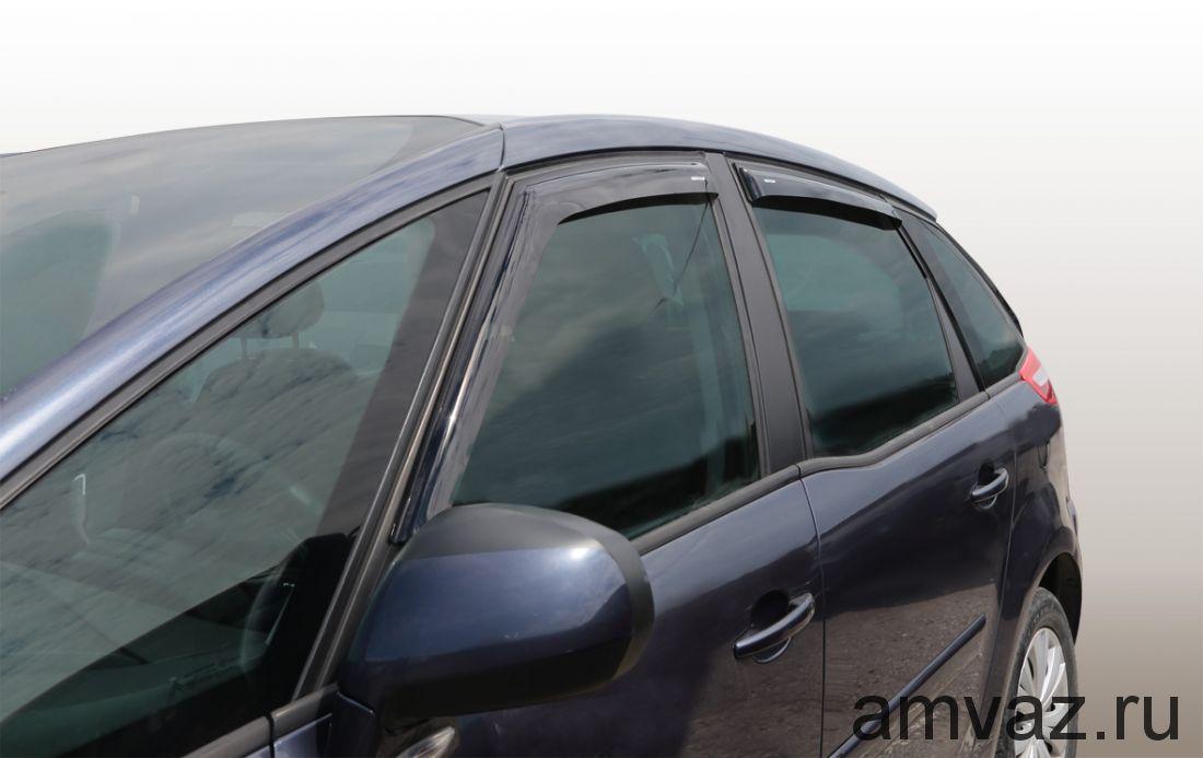 Дефлекторы неломающиеся на боковые стекла VORON GLASS серия Samurai CITROEN C4 AIRCROSS 2012 - н.в./накладные/ скотч /к-т 4 шт./