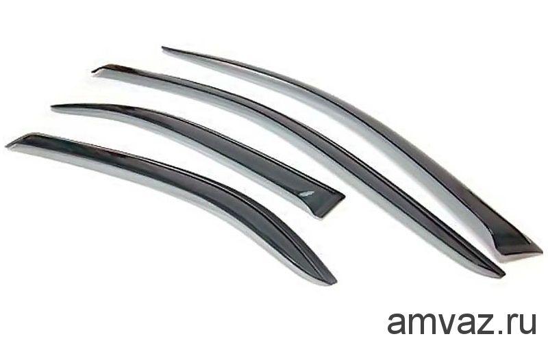 Дефлекторы на боковые стекла Voron Glass серия CORSAR Hyundai Santa Fe III (DM) 2012-2014 /кроссовер/накладные/скотч/к-т 4шт./