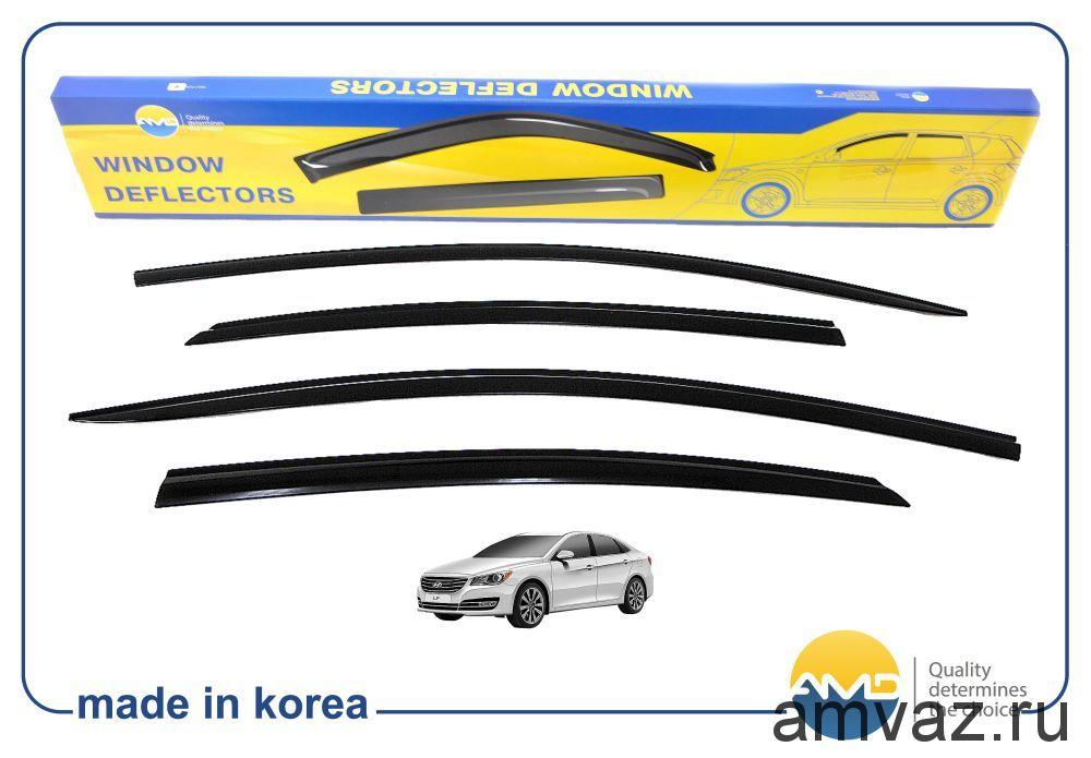 Дефлекторы на боковые стекла Voron Glass серия CORSAR Hyundai Sonata IV (EF) 1998-2012 /седан/накладные/скотч/к-т 4шт./