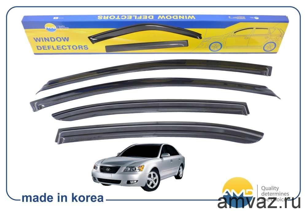 Дефлекторы на боковые стекла Voron Glass серия CORSAR Hyundai Sonata V (NF) 2004-2010 /седан/накладные/скотч/к-т 4шт./