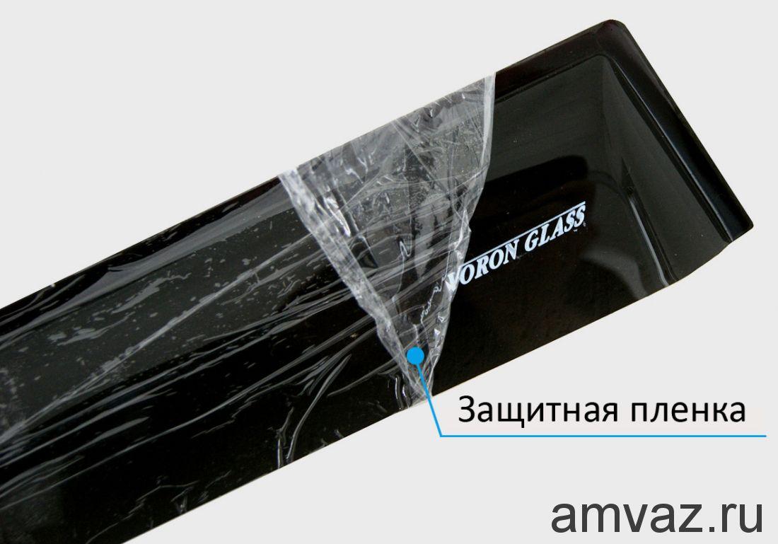 Дефлекторы на боковые стекла Voron Glass серия CORSAR Mitsubishi Outlander I 2001-2007/кроссовер/накладные/скотч/к-т 4 шт./