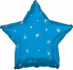 Звезда с искорками синяя шар фольгированный с гелием
