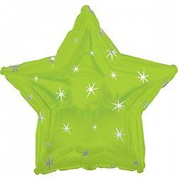 Звезда с искорками лайм шар фольгированный с гелием