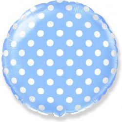 Голубой круг в горошек шар фольгированный с гелием
