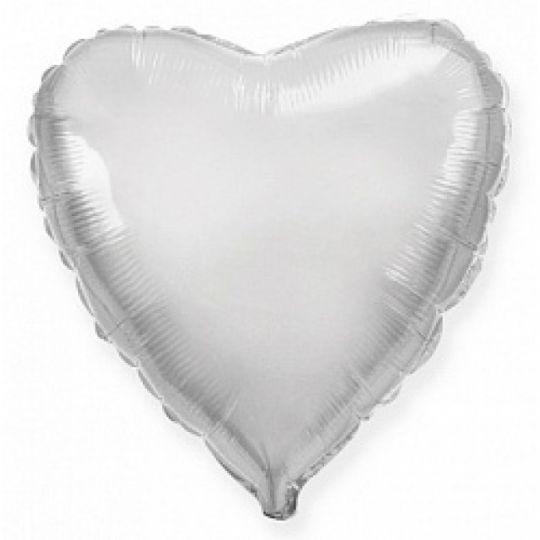 Сердце серебряное шар фольгированный с гелием