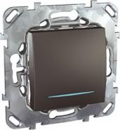 Одноклавишный перекрестный перекл. Unica Top с подсветкой цвет Графит