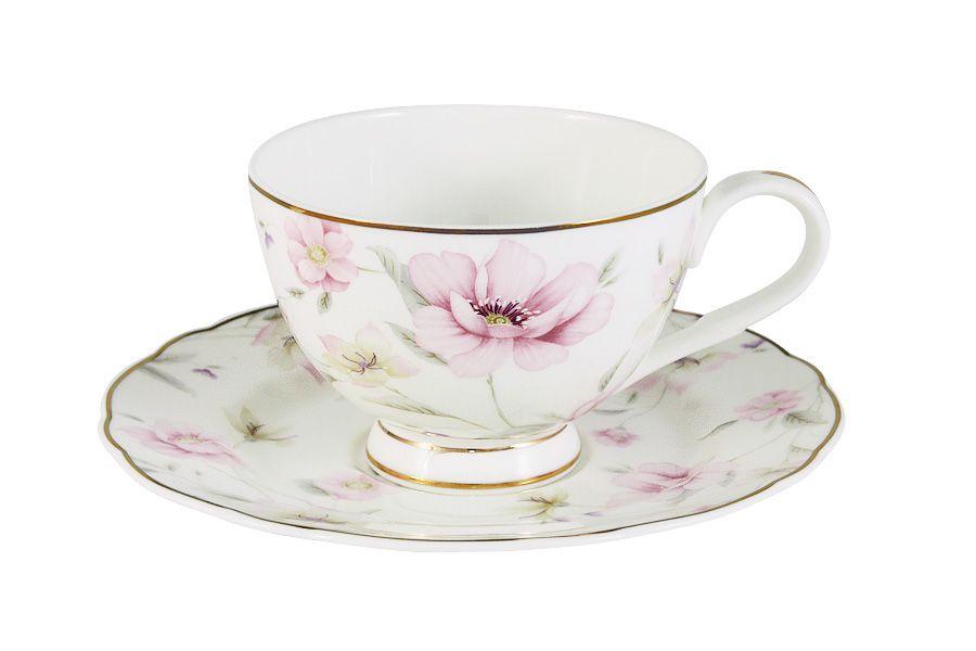 """Чайный набор на 1 персону  """"Розовый танец"""", 2 пр., 0.2 л"""