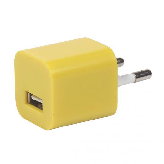 Вилка USB квадрат желтый (1000 mA, 5V)