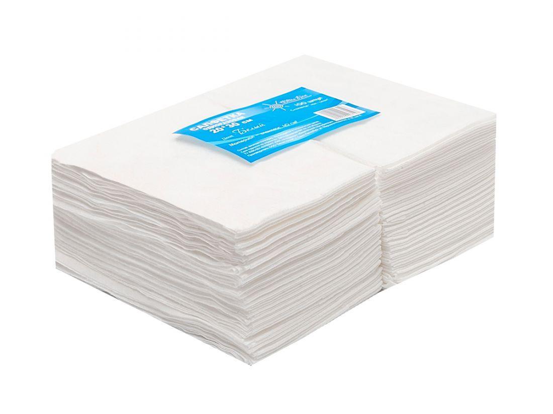 Салфетка одноразовая 20*30 спанлейс белый White line №100шт пачка