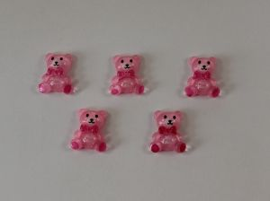 "`Кабошон ""Мишка"", пластик, 18 мм, цвет - светло-розовый"
