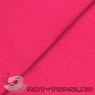 Лоскут трикотажной ткани кашкорсе- резинка Ярко- розовый