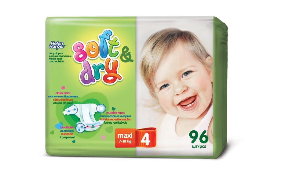 Helen Harper  Детские подгузники Soft Dry maxi (7-18 кг) 96 шт