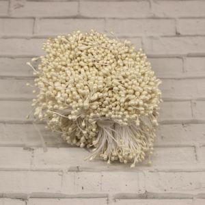 `Тычинки перламутровые двусторонние, 3х60мм, цвет №14 белый (1уп = 70-80 тычинок)