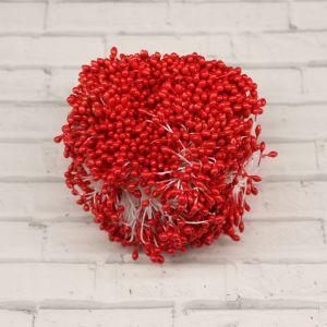 `Тычинки перламутровые двусторонние, 3х60мм, цвет №20 красный (1уп = 70-80 тычинок)