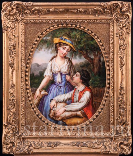 """Изображение Картина на фарфоре """"Пастораль"""", Германия, кон. 19 в"""