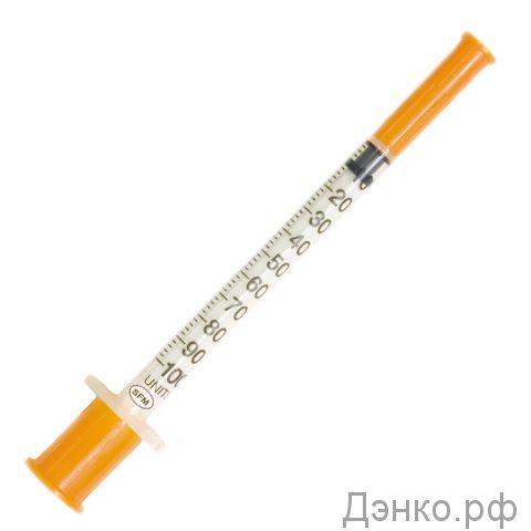 """Купить инсулиновые шприцы """"Микро-файн Плюс"""" 1мл U-100 0.33х12.7"""