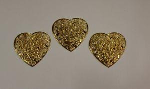 """Декоративный элемент """"филигрань"""" сердце 46 мм, цвет золото (1уп = 50шт)"""