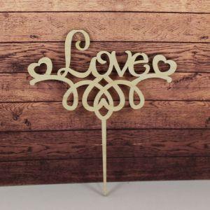 "Заготовка  топпер "" LOVE"", 17х15 см, фанера 3 мм, 1 уп=5шт"