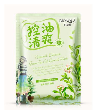 Освежающая и сужающая поры маска для лица «BIOAQUA» с экстрактом зеленого чая.(2958)