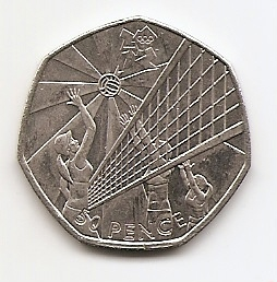 XXX летние Олимпийские Игры, Лондон 2012 - Волейбол 50 пенсов Великобритания  2011