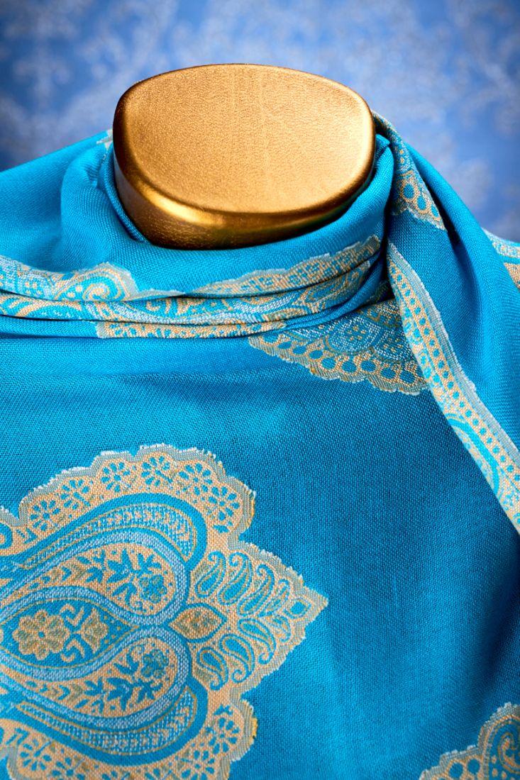 Голубой индийский палантин из хлопка (отправка из Индии)