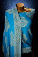 Индийский хлопковый палантин голубого цвета, интернет магазин. Купить с бесплатной доставкой от 1999 руб.