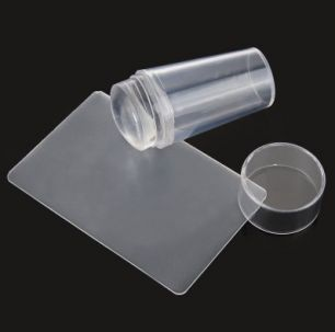 Набор для стемпинга №1 (штамп силиконовый прозрачный с крышкой+скрапер)