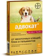 Адвокат 250 Капли от блох и гельминтов для собак от 10 до 25 кг (3 шт./уп.)