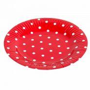 Тарелка красная, точки, 18 см, 6 шт/ уп