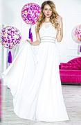 Красивое белое вечернее платье в пол верх кружево юбка шифон пояс стразы
