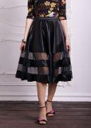 черная юбка с прозрачными вставками