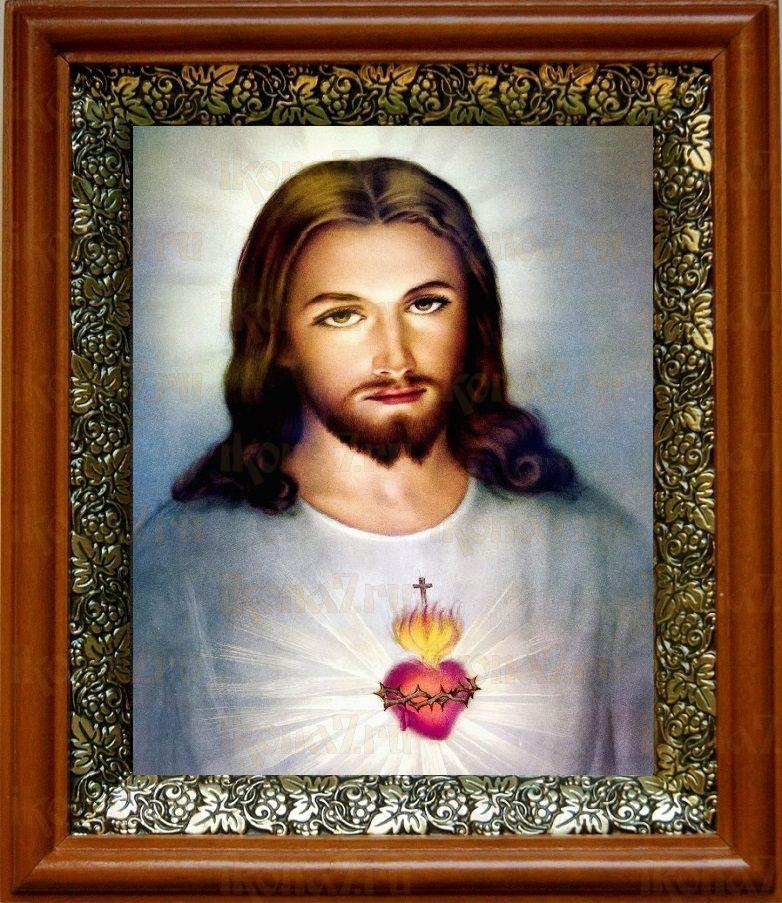 Сердце Иисуса Христа (19х22), светлый киот