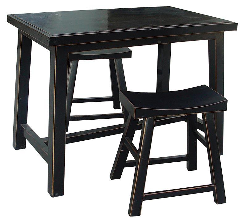 Комплект столов Шу- Чжо с табуретом Фэн- Дэн Чёрный