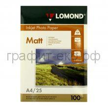 Фотобумага А4 INK JET100 25л.мат.2ст.Lomond0102038