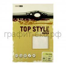 Бумага А4 Smart Line Top Style fine linen white белая 250г/м 20л 3269