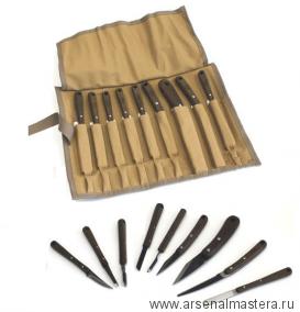 Набор японских резцов HIRO 9 штук в скрутке Miki Tool М00010265