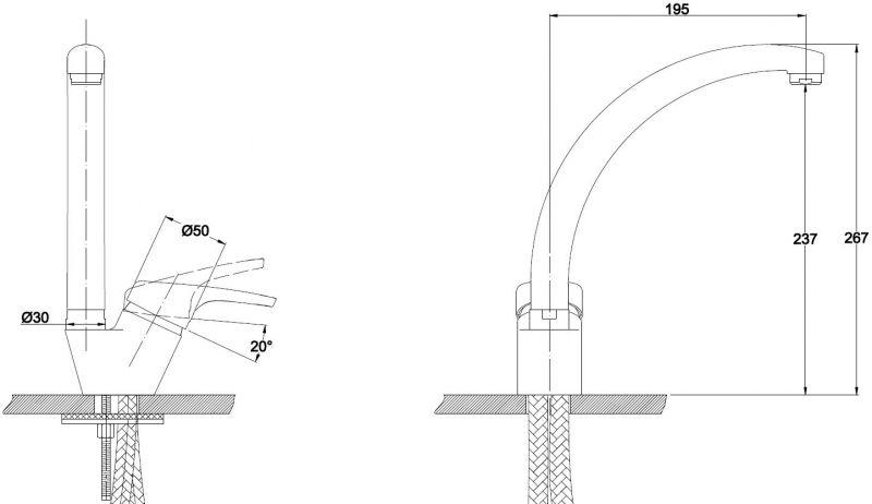 Kaiser Conty 55244-8 White SB Смеситель для кухни Белый мрамор