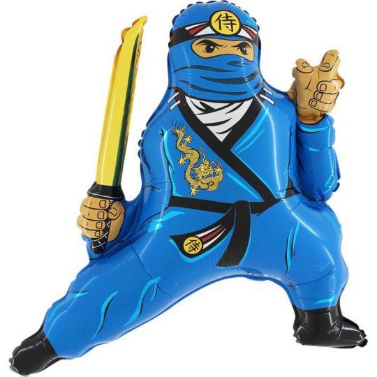Ниндзя синий фольгированный шар с гелием