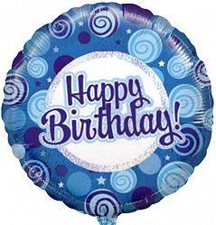 Синие кружки С днем рождения шар фольгированный с гелием