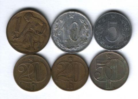 Набор монет Чехословакия 1954-1984 г. 6 шт.