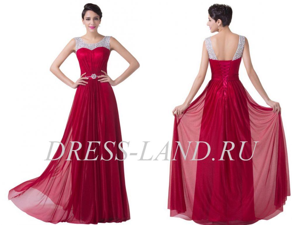 f1b8a3c2935fe9f Бордовое вечернее платье на шнуровке