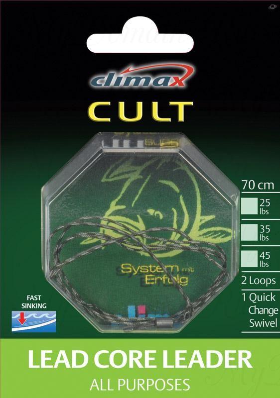 Поводок Сlimax Lead core Leader -All Purpose 90 cм, 35 lbs (weed) оборудован безузловой застежкой и петлей.