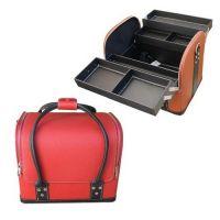 Сумка-чемодан мастера кожаная красная с чёрными ручками, 32х28х25 (см)