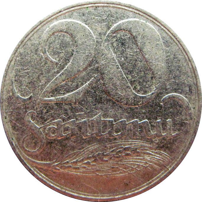 Латвия 20 сантим 1922 г.