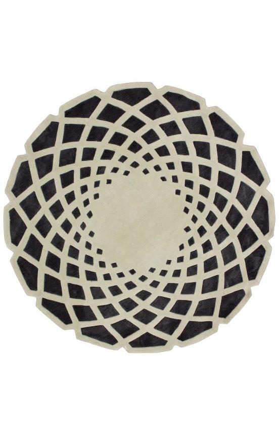 Ковер круглый Серо-чёрный 1 м